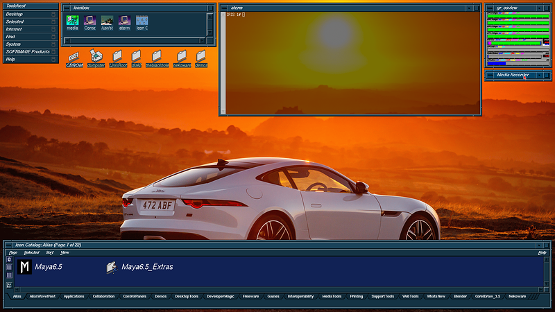 Tezro IRIX 6.5.30 Desktop Screenshot - (aterm transparent)
